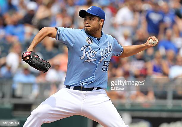 Bruce Chen of the Kansas City Royals throws in the first inning against the Cleveland Indians at Kauffman Stadium on July 27 2014 in Kansas City...