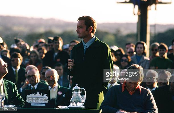 Bruce Crampton speaks at the presentation as the first runnerup during the 1972 Masters Tournament at Augusta National Golf Club in April 1972 in...