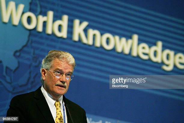 Bruce Cummings a professor of Chicago University addresses delegates at the World Knowledge Forum 2007 in Seoul South Korea on Thursday Oct 18 2007...