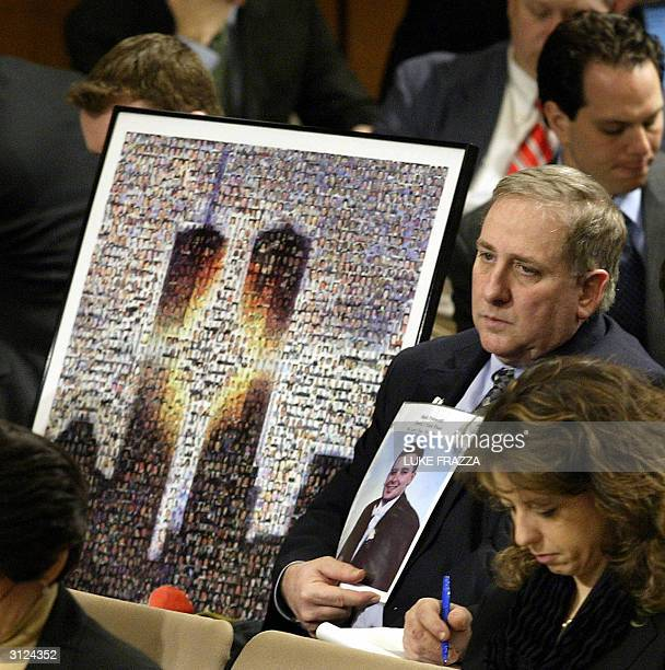 Bruce DeCell the fatherinlaw of 911 victim Mark Petrocelli listens to testimony before The National Commission on Terrorist Attacks Upon the United...