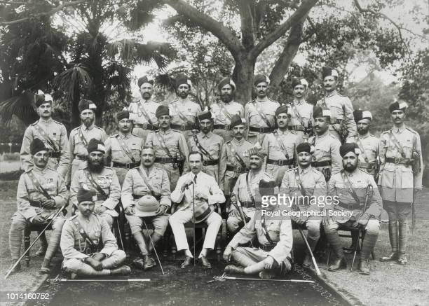 CE Bruce departure from Kohat in June 1923 where he was Deputy Commissioner Back row standing SI Abdul Hai SI Gulab Khan SI Mangat Singh SI Diwan...
