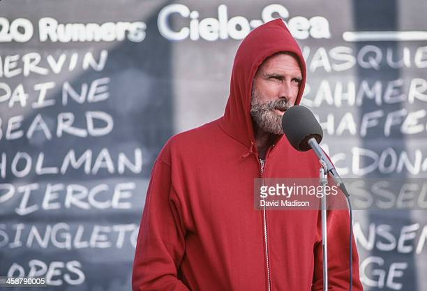 Bruce Dern speaks to the race crowd during the making of the movie On the Edge filmed in July 1983 in Marin County California