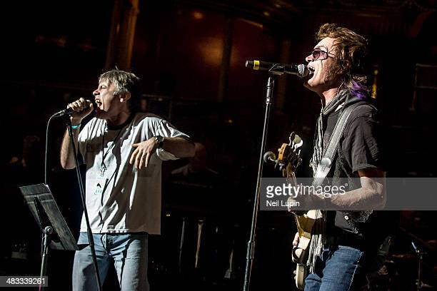 Bruce Dickinson and Glenn Hughes perform on stage in rehearsal for 'Celebrating Jon Lord' at Royal Albert Hall on April 4 2014 in London United...
