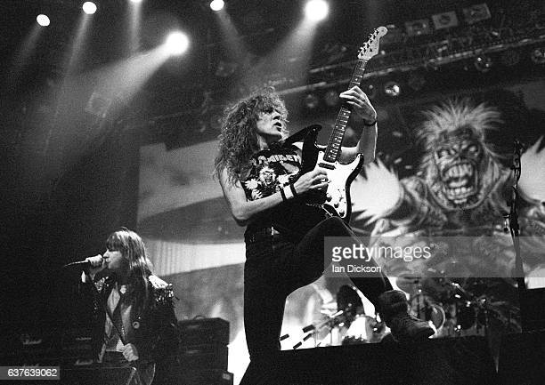 Bruce Dickinson and Janick Gers of Iron Maiden performing on stage at Wembley Arena London 18 December 1990