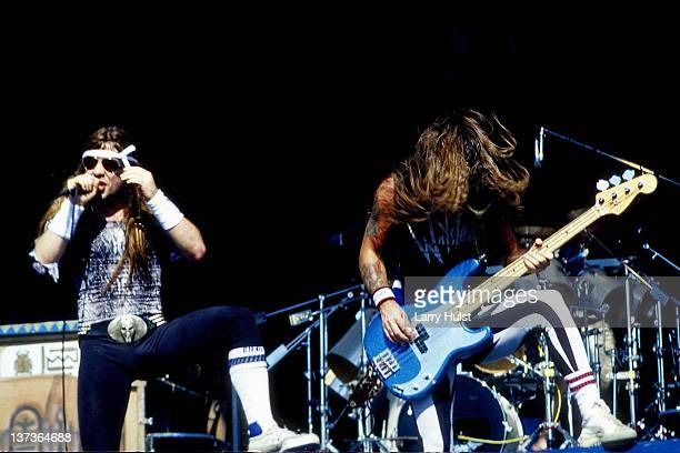 Bruce Dickinson and Steve Harris performing with 'Iron Maiden' at Cal Expo in Sacramento, California on June 28, 1990.