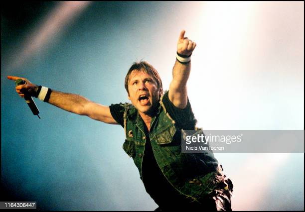 Bruce Dickinson, Iron Maiden, performing on stage, Roskilde Festival '00, Roskilde, Denmark, 29th June 2000.