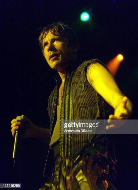 Bruce Dickinson of Iron Maiden during Iron Maiden at Ozzfest 2005 in Devore CA August 20 2005 at Hyundai Pavillion in Devore California United States