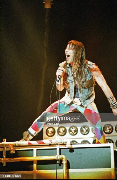 Bruce Dickinson of Iron Maiden performs on stage at Hammersmith Odeon on May 26th, 1983 in London, England.