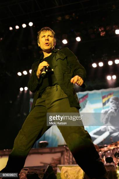 Bruce Dickinson of Iron Maiden performs on stage at the Lokomotiv Stadium on the 'A Matter Of Life And Death' tour on June 4th 2007 in Sofia Bulgaria