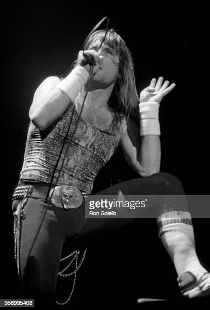 Bruce Dickinson performing at an Iron Maiden Concert on March 11, 1985 in Long Beach, California.