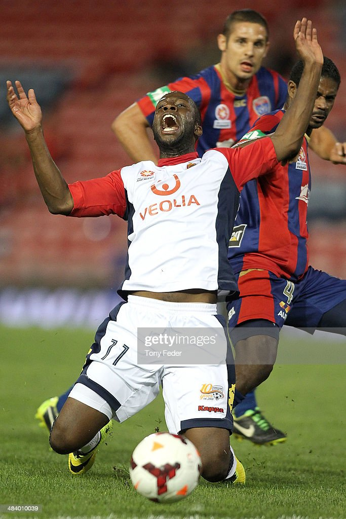 Bruce Djite of Adelaide calls for a foul during the round 27 A-League match between the Newcastle Jets and Adelaide United at Hunter Stadium on April 11, 2014 in Newcastle, Australia.