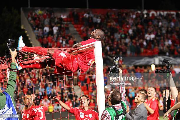 Bruce Djite of Adelaide United celebrate after Adelaide won the FFA Cup Final match between Adelaide United and Perth Glory at Coopers Stadium on...