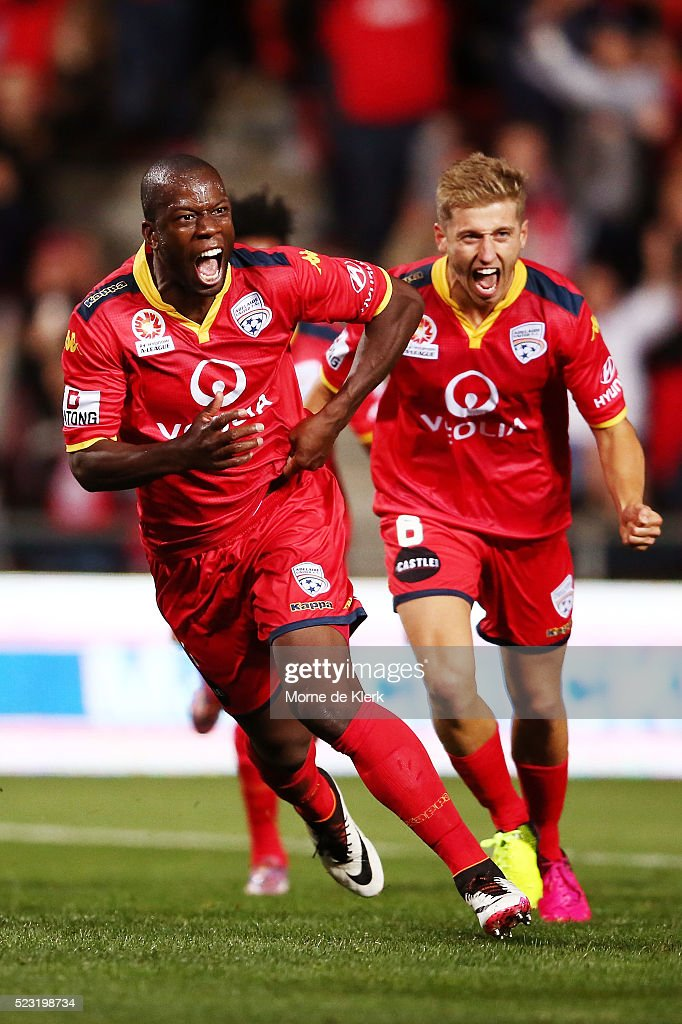 Bruce Djite of Adelaide United celebrates after scoring a goal during the A-League Semi Final match between Adelaide United and Melbourne City at Coopers Stadium on April 22, 2016 in Adelaide, Australia.