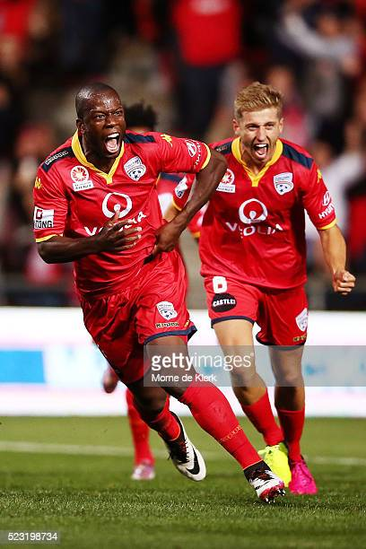 Bruce Djite of Adelaide United celebrates after scoring a goal during the ALeague Semi Final match between Adelaide United and Melbourne City at...