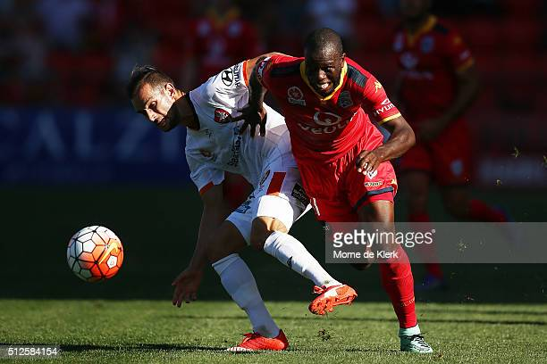 Bruce Djite of Adelaide United competes with Jack Hingert of Brisbane Roar during the round 21 ALeague match between Adelaide United and the Brisbane...