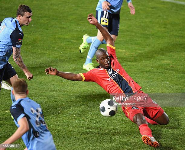 Bruce Djite of United kicks the ball during the FFA Cup Round of 16 match between Adelaide United and Sydney FC at Coopers Stadium on August 26 2015...