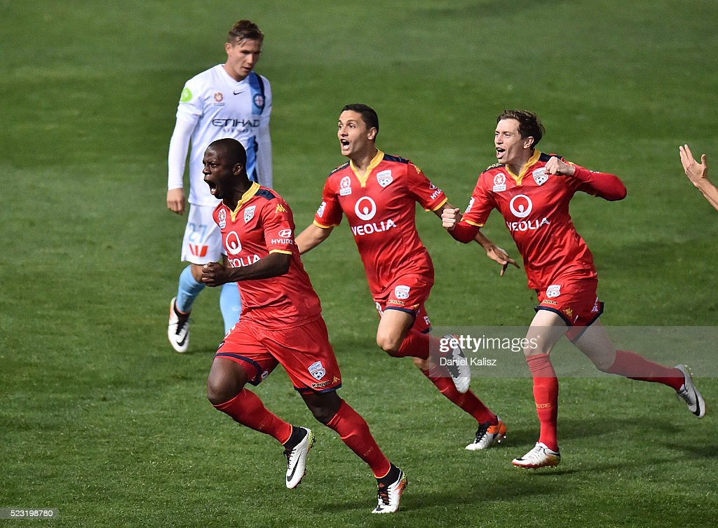 Bruce Djite of United reacts after scoring a goal during the A-League Semi Final match between Adelaide United and Melbourne City at Coopers Stadium on April 22, 2016 in Adelaide, Australia.