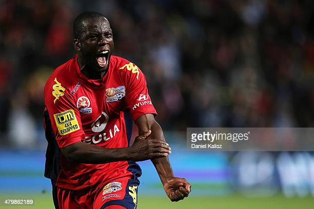Bruce Djite of United reacts after scoring during the round 24 A-League match between Adelaide United and Sydney FC at Coopers Stadium on March 21,...