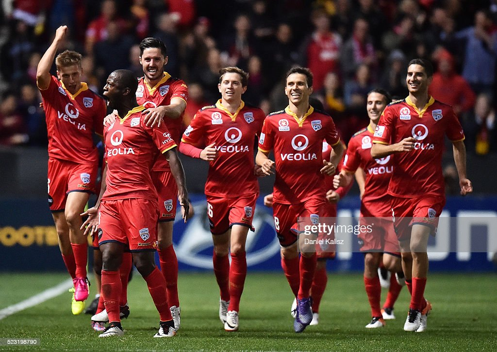 Bruce Djite of United reacts after scoring his second goal of the match during the A-League Semi Final match between Adelaide United and Melbourne City at Coopers Stadium on April 22, 2016 in Adelaide, Australia.