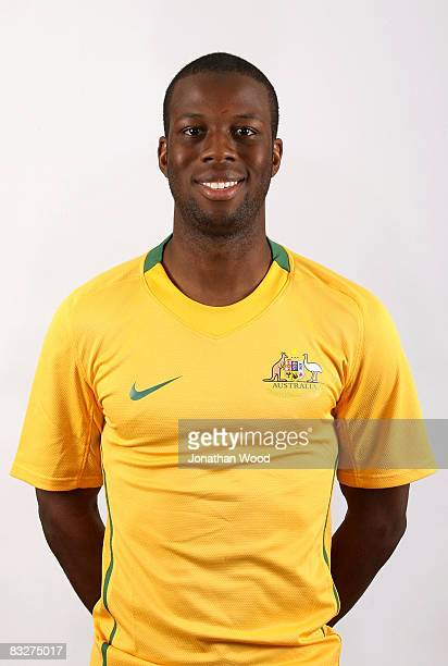 Bruce Djite poses during the Australian Socceroos portrait session at the Sofitel Grand Central on October 13 2008 in Brisbane Australia