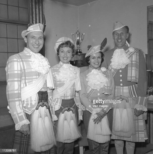 Bruce Forsyth Teddy Johnson Eve Boswell Pearl Carr and Bruce Forsyth posed wearing tartan 1957