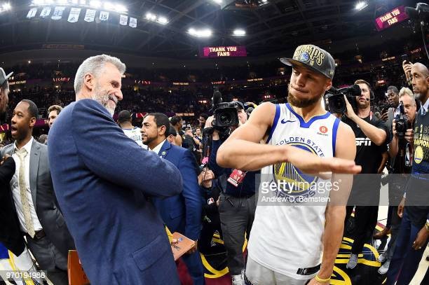 Bruce Fraser and Stephen Curry of the Golden State Warriors celebrate after Game Four of the 2018 NBA Finals against the Cleveland Cavaliers on June...