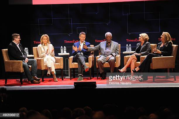 Bruce Fretts Tea LeoniTim Daly Morgan Freeman Barbara Hall and Lori McCreary attend TimesTalks Presents An Evening With The Cast of 'Madame...