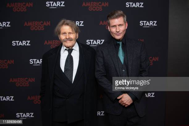 Bruce Glover and Crispin Glover arrive at the premiere of STARZ's 'American Gods' Season 2 at Ace Hotel on March 05 2019 in Los Angeles California