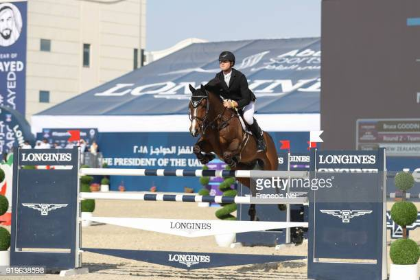 Bruce Goodin of New Zealand rides Backatorps Danny V during The President of the UAE Show Jumping Cup at Al Forsan on February 17 2018 in Abu Dhabi...
