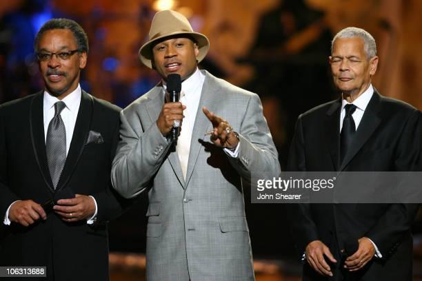 Bruce Gordon, NAACP President, LL Cool J, host, and Julian Bond, NACCP Chairman