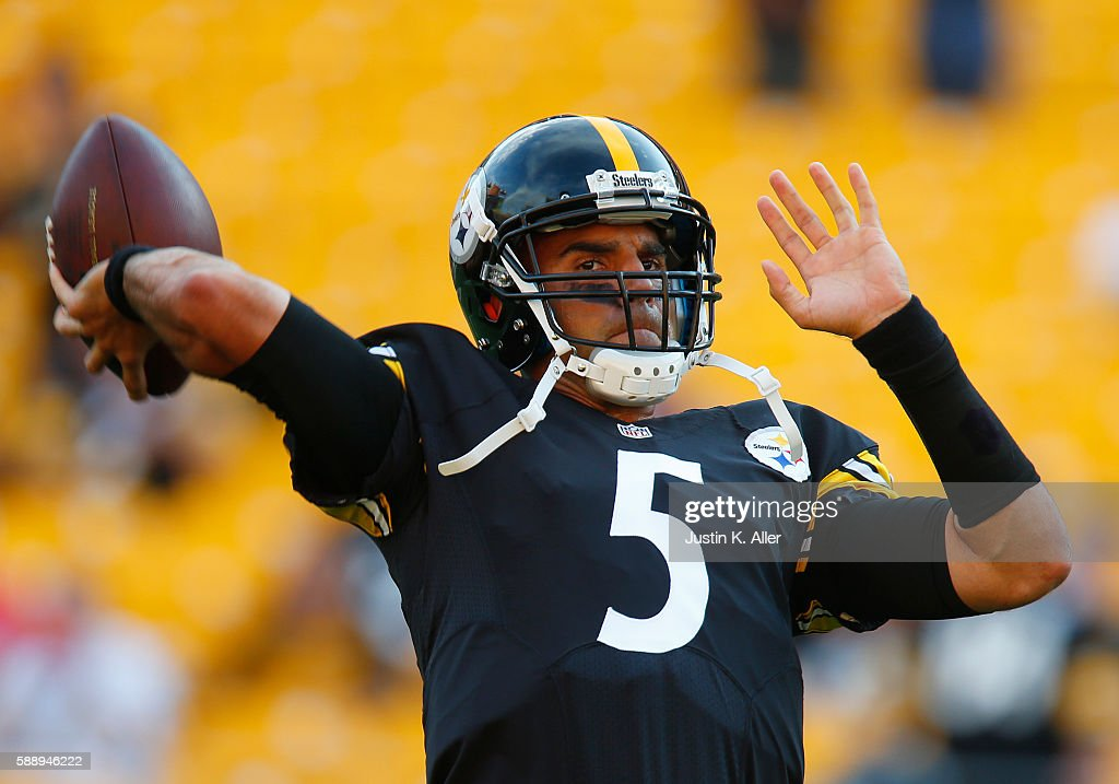 Bruce Gradkowski #5 of the Pittsburgh Steelers warms up before the game against the Detroit Lions on August 12, 2016 at Heinz Field in Pittsburgh, Pennsylvania.