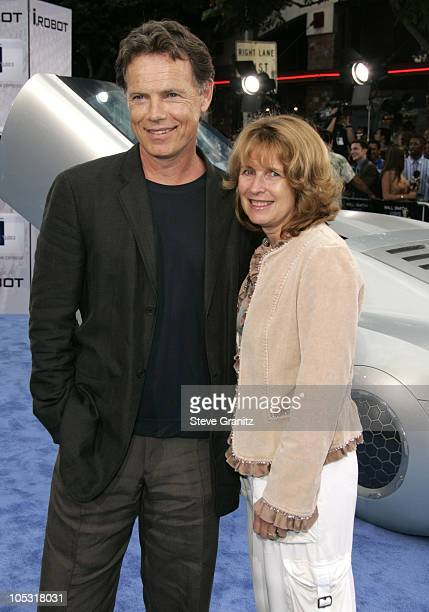 Bruce Greenwood and Susan Devlin during Access Hollywood Stage at the World Premiere of I ROBOT at Mann Village Theater in Westwood California United...