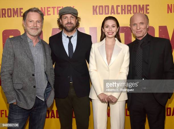 Bruce Greenwood Jason Sudeikis Elizabeth Olsen and Ed Harris attend the premiere of Netflix's 'Kodachrome' at ArcLight Cinemas on April 18 2018 in...