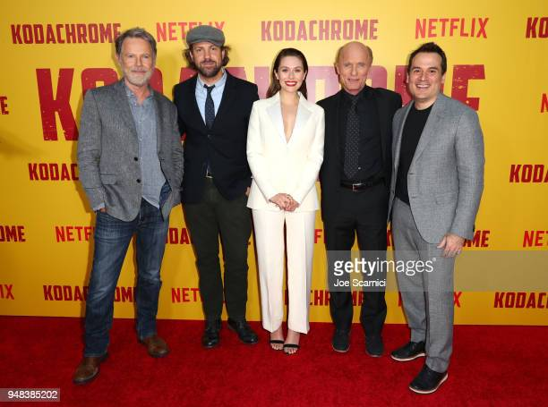Bruce Greenwood Jason Sudeikis Elizabeth Olsen Ed Harris and Mark Raso attend Los Angeles special screening of Netflix's film 'KODACHROME' on April...