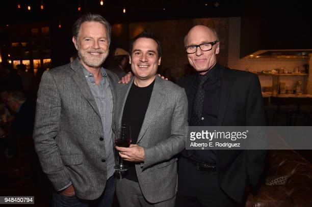 Bruce Greenwood Mark Raso and Ed Harris attend the after party for the premiere of Netflix's 'Kodachrome' at ArcLight Cinemas on April 18 2018 in...
