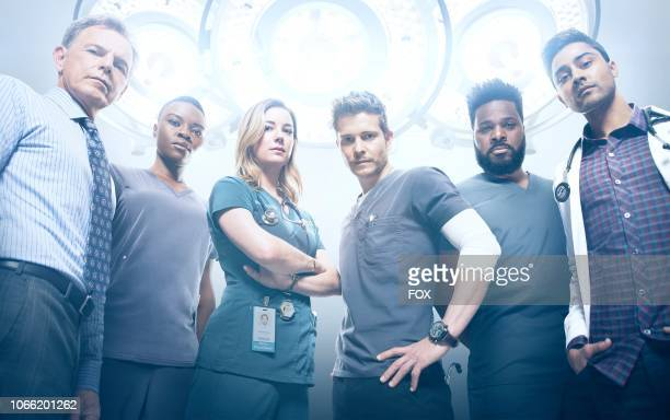 Bruce Greenwood, Shaunette Renée Wilson, Emily VanCamp, Matt Czuchry, Malcolm-Jamal Warner and Manish Dayal in Season Two of THE RESIDENT premiering...