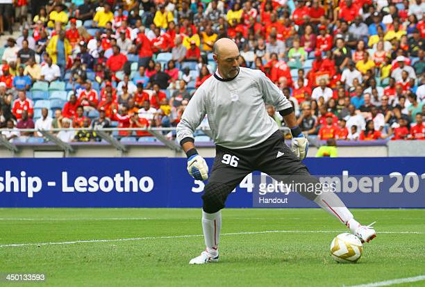 Bruce Grobbelaar during the Legends match between Liverpool FC Legends and Kaizer Chiefs Legends at Moses Mabhida Stadium on November 16 2013 in...