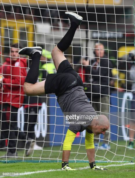 Bruce Grobbelaar during the serie A match between AC Milan and SSC Napoli at Stadio Giuseppe Meazza on April 15 2018 in Milan Italy