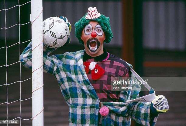 Bruce Grobbelaar Liverpool goalkeeper dressed as a clown at the County Ground Northampton England circa 1988