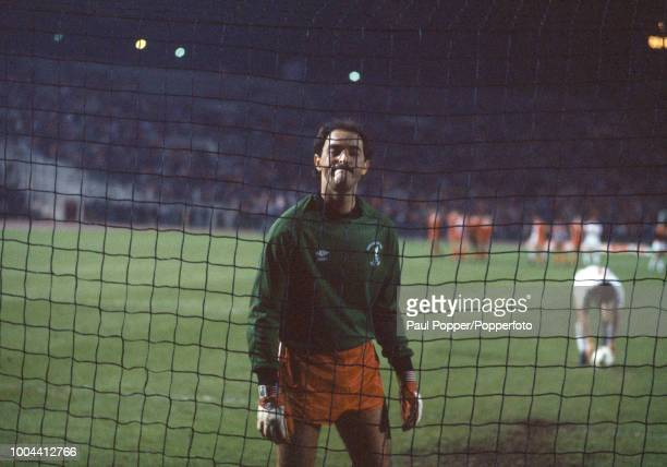 Bruce Grobbelaar of Liverpool prepares to face the penalty shootout during the European Cup Final between Liverpool and AS Roma at the Stadio...