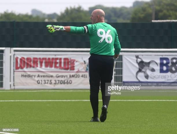 Bruce Grobbelaar of Matabeleland showing 96 on his shirt during Conifa Paddy Power World Football Cup 2018 Friendly between Matabeleland v Chagos...