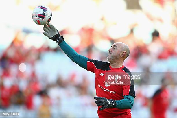 Bruce Grobbelaar of the Liverpool FC Legends throws a ball as he warms up ahead of the match between Liverpool FC Legends and the Australian Legends...