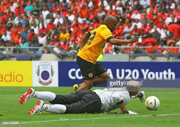 Bruce Grobbelaar tries to make a save during the Legends match between Liverpool FC Legends and Kaizer Chiefs Legends at Moses Mabhida Stadium on...