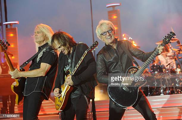Bruce Hall Bryan Hitt Dave Amato Kevin Cronin and Neal Doughty of REO Speedwagon attends the 2013 Quick Chek New Jersey Festival of Ballooning at...