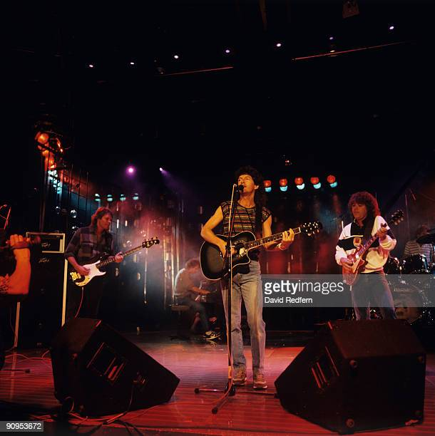 Bruce Hall Kevin Cronin and Gary Richrath of REO Speedwagon perform on stage at the Montreux Rock Festival held in Montreux Switzerland in May 1985