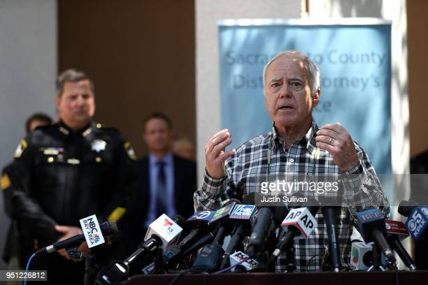 Bruce Harrington whose brother and sisterinlaw were allegedly killed in Dana Point California by the East Area Rapist speaks during a news conference...