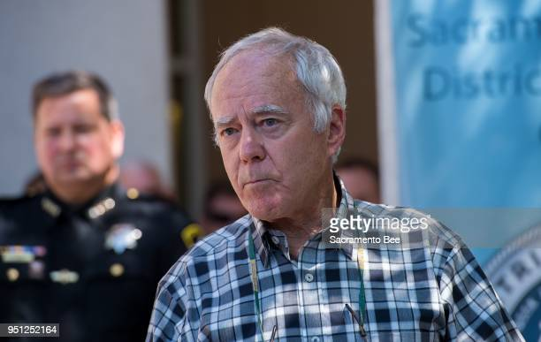 Bruce Harrington whose brother Keith Harrington and his wife Patty were viticms of the Golden State Killer speak to the media after Sheriff Scott...