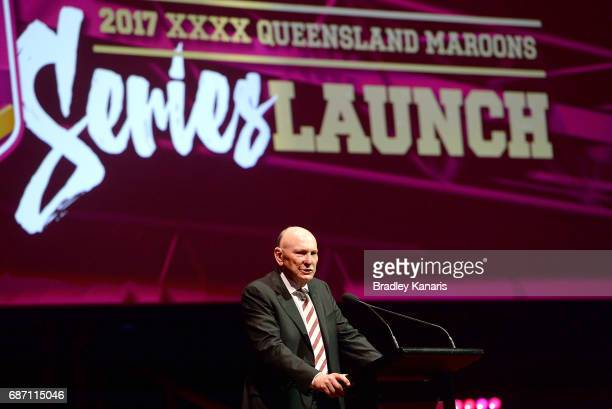 Bruce Hatcher speaks during the Queensland Maroons State of Origin official launch at the Brisbane City Town Hall on May 23 2017 in Brisbane Australia