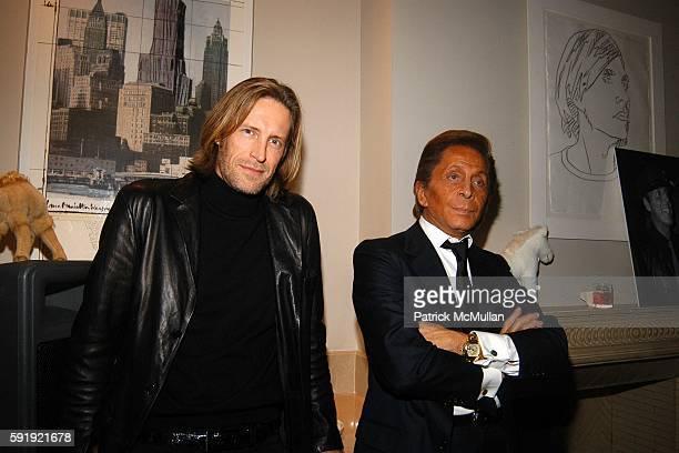 Bruce Hoeksema and Valentino Garavani attend Allison Sarofim's 2005 Halloween Party at West Village on October 29 2005 in New York City