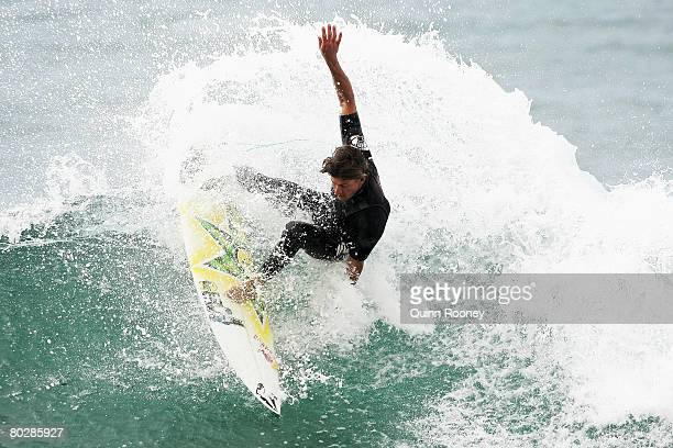 Bruce Irons of the United States of America has a warmup surf as the contest is put on hold due to poor swell during the Rip Curl Pro as part of the...